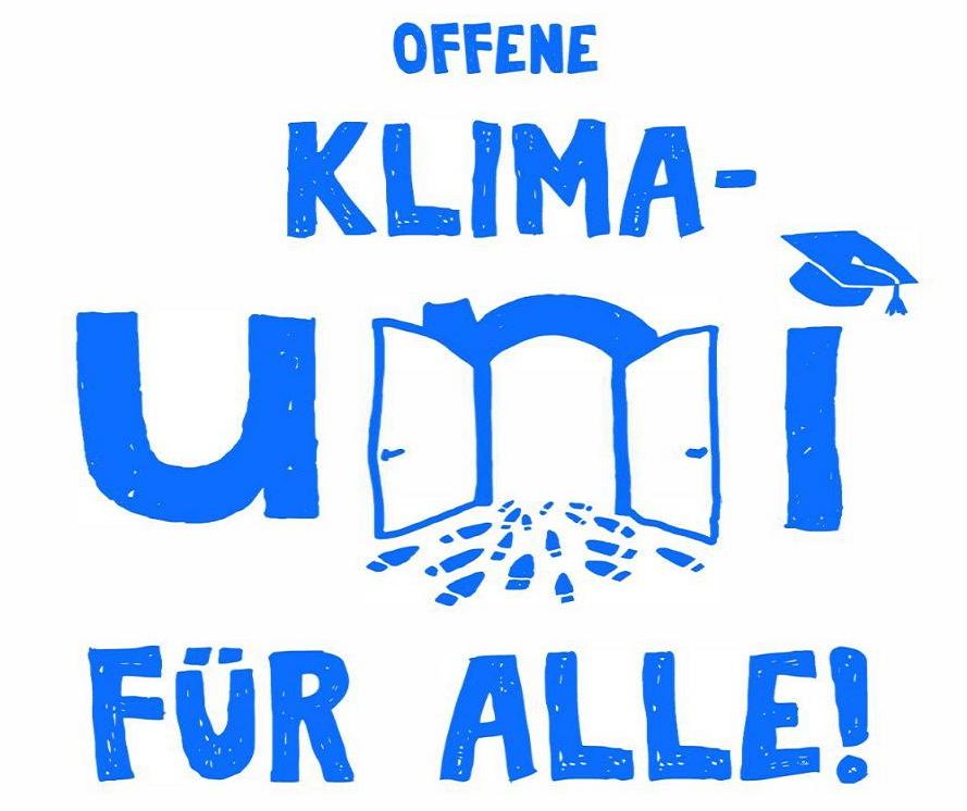 """Logo: """"OFFENE KLIMA-UNI FÜR ALLE"""" zur Public Climate School"""
