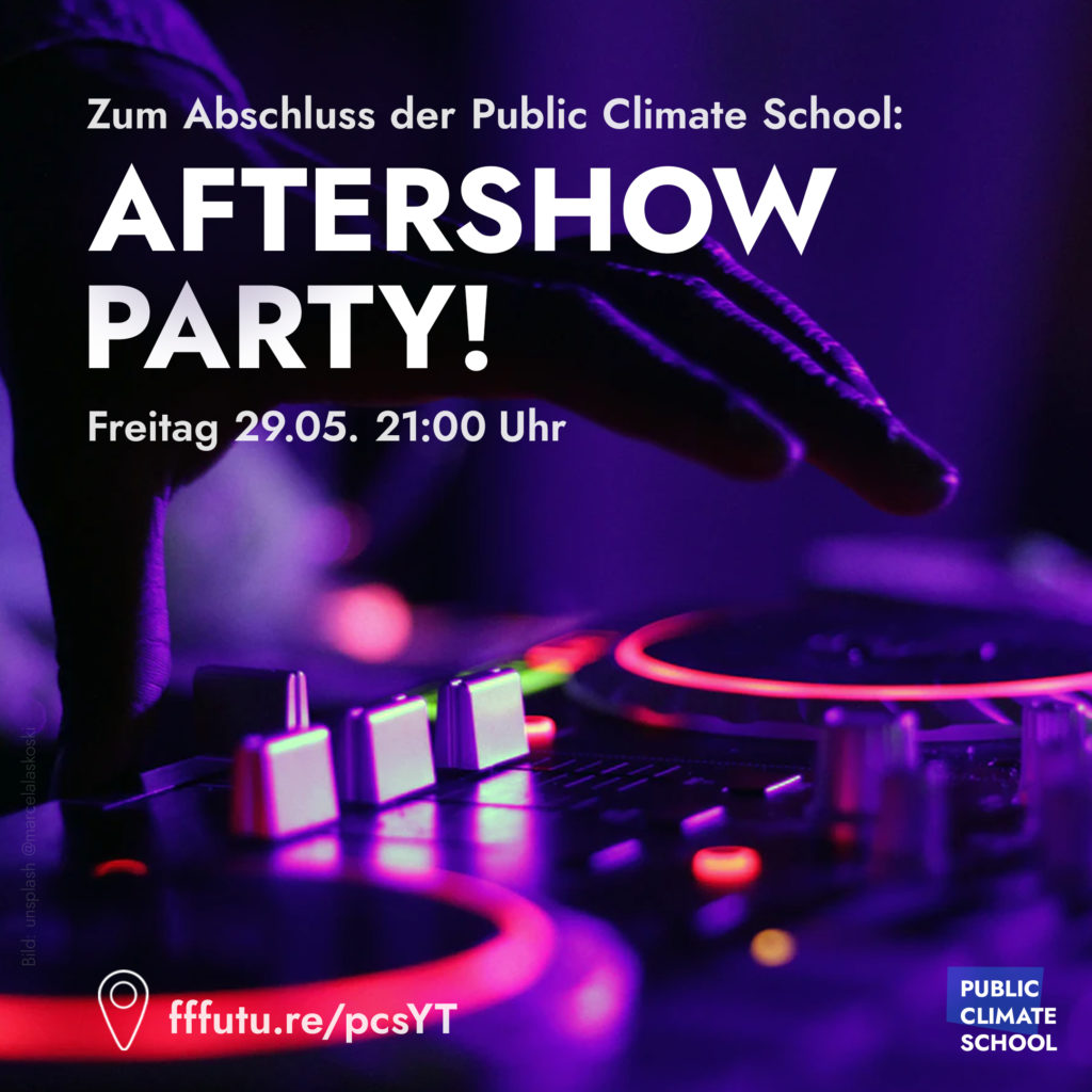 "Sharepic ""Aftershow Party"", Freitag 29.05., 21:00 Uhr"