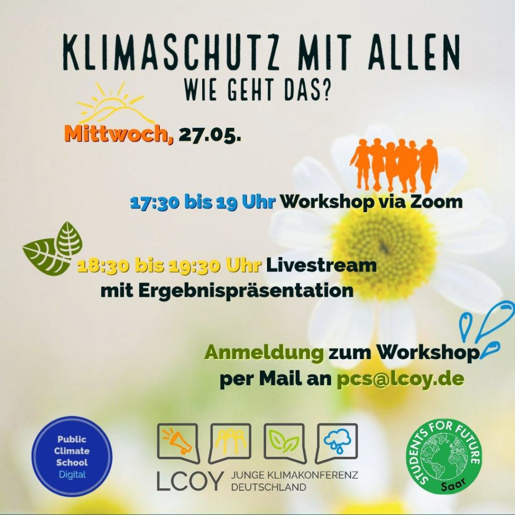 """Sharepic """"Klimaschutz mit allen - Wie geht das"""", 27.05. um 17:30 Uhr"""
