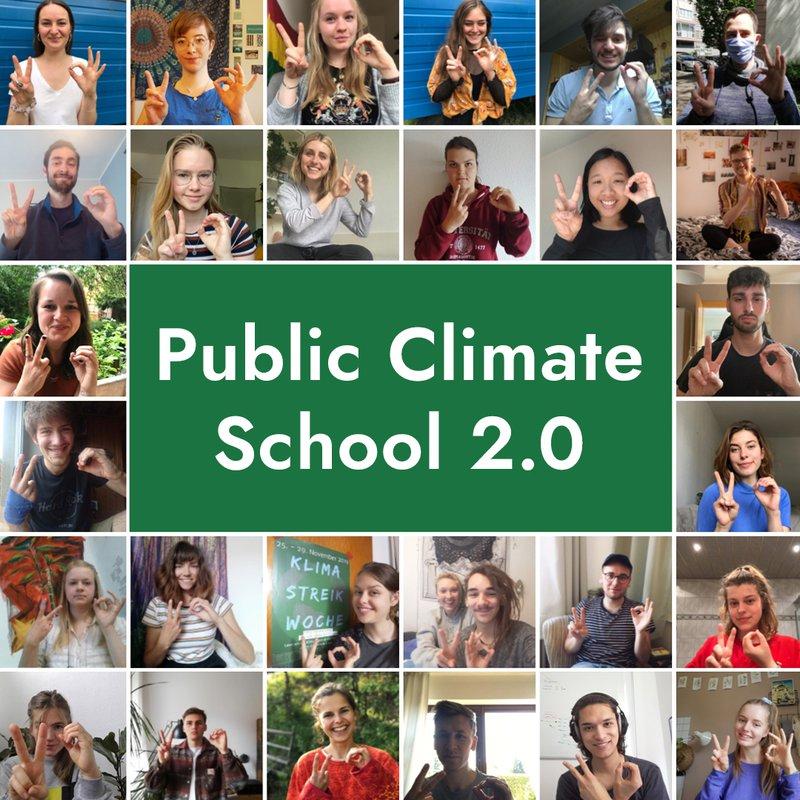 """Sharepic """"Public Climate School 2.0"""" mit zahlreichen Gesichtern der Students for Future Bewegung"""
