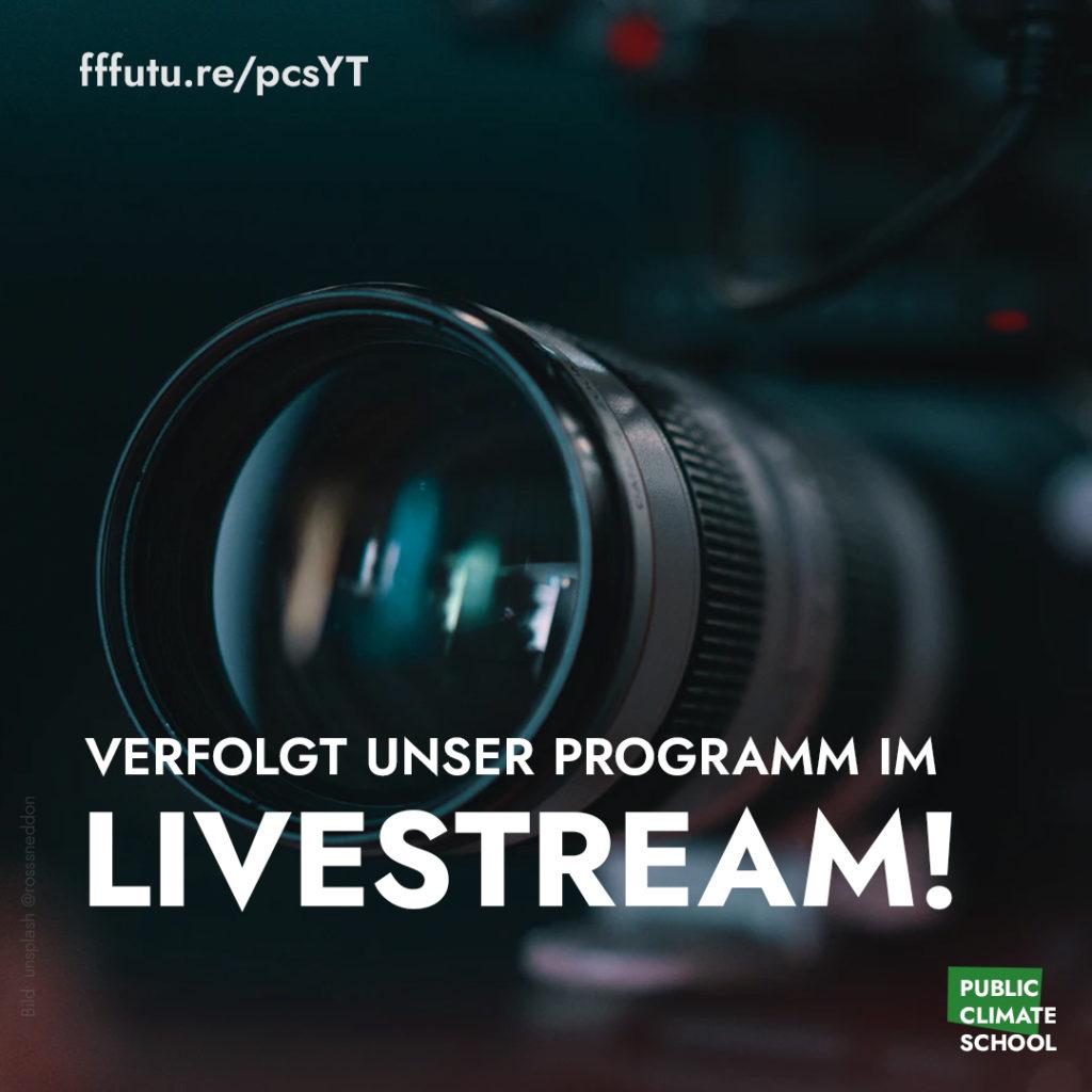 """Sharepic """"Verfolgt unser Programm im Livestream!"""" auf fffutu.re/pcsYT"""