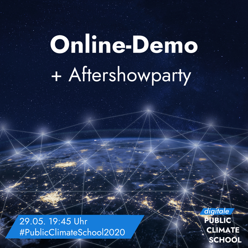 "Sharepic ""Online-Demo + Aftershowparty"", 29.05. 19:45 Uhr"