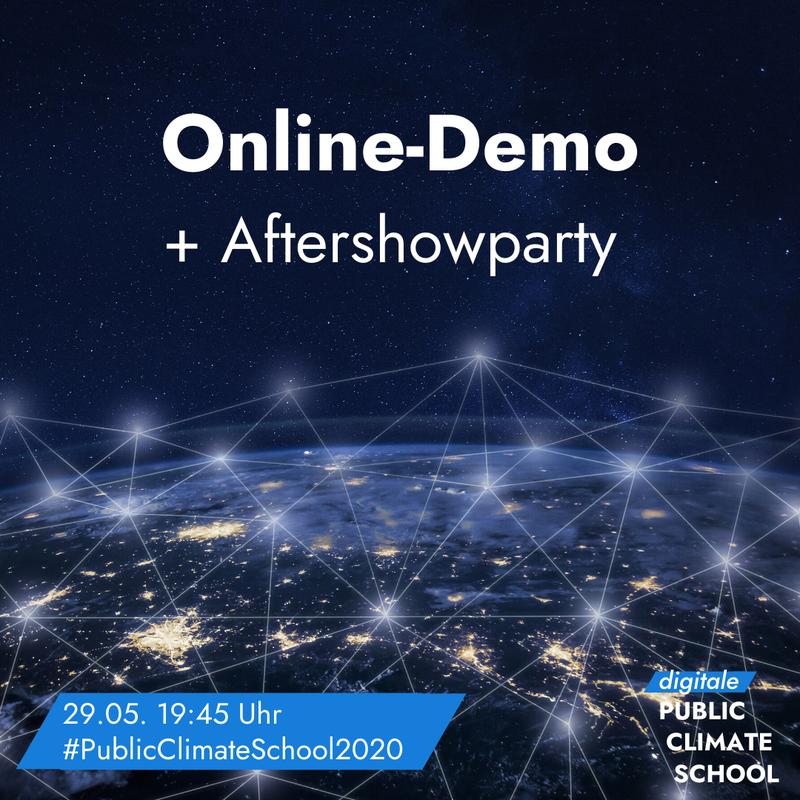 """Sharepic """"Online-Demo + Aftershowparty"""", 29.05. 19:45 Uhr"""