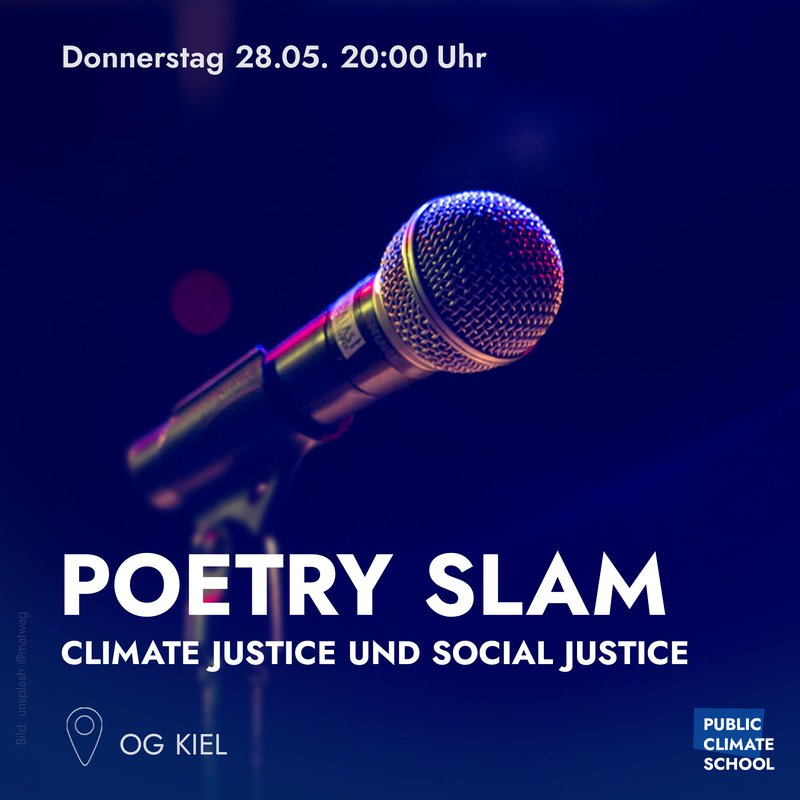 """Sharepic """"Poetry Slam - Climate Justice und Social Justice"""" am 28.05. 20:00 Uhr"""
