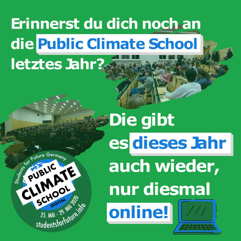 """Sharepic zur PCS mit folgendem Text: """"Erinnerst du dich noch an die Public Climate School letztes Jahr? Die gibt es dieses Jahr auch wieder, nur diesmal online!"""""""