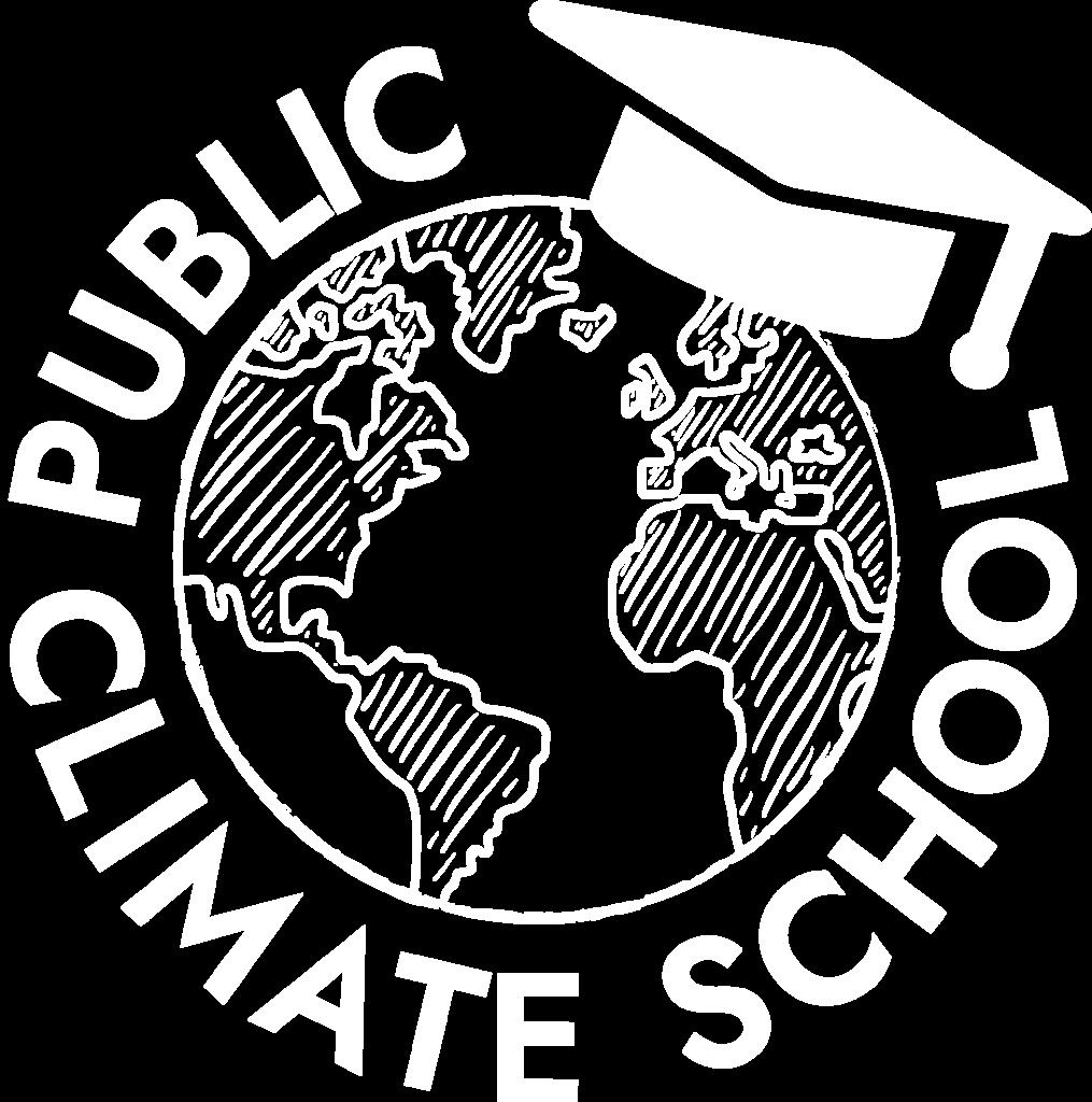 Public Climate School Logo in weiß auf transparentem Hintergrund